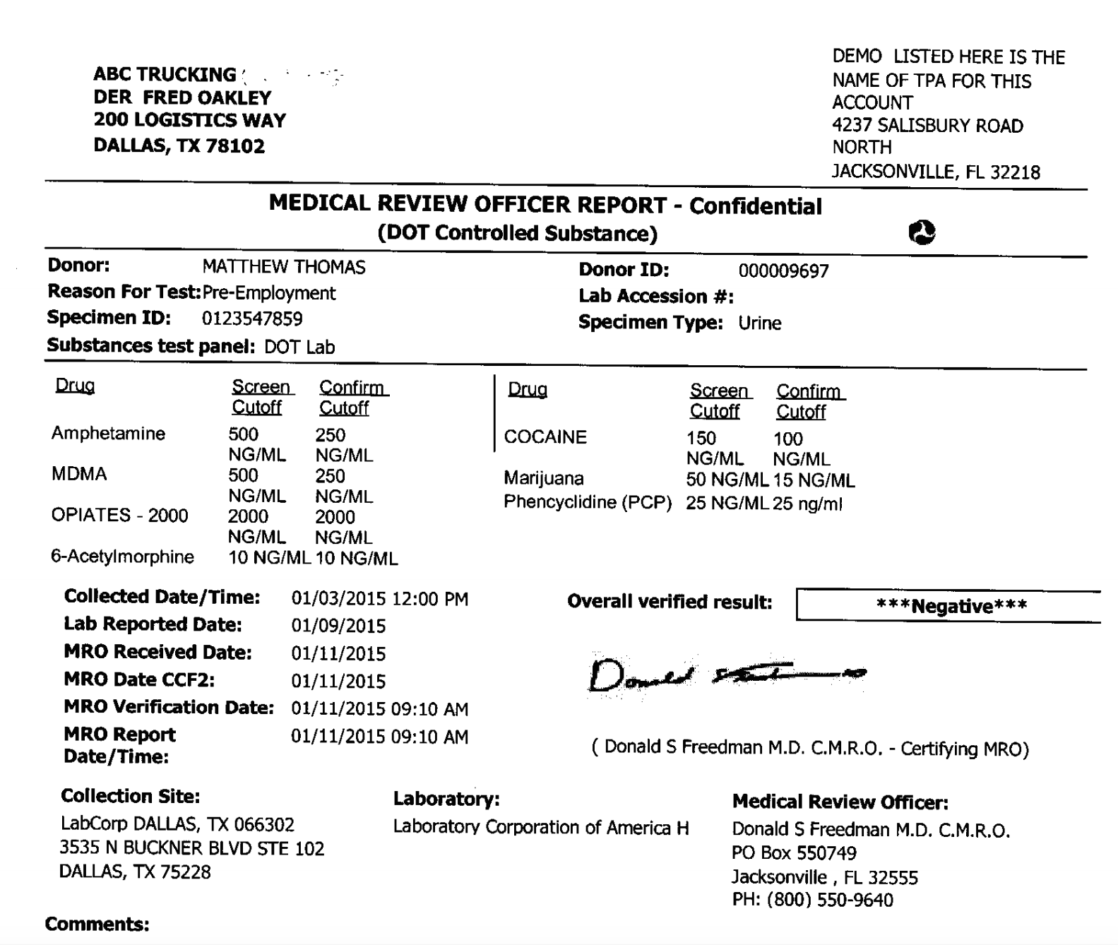 American Medical Review Officer Drug Testing Example Result