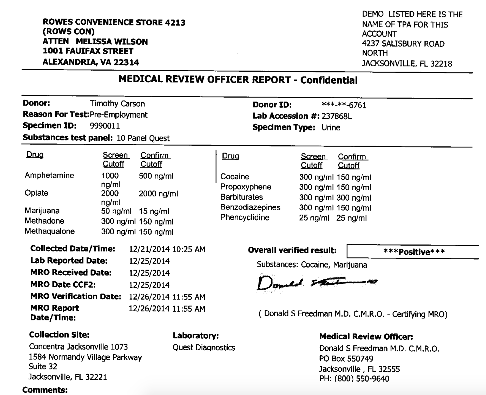 Drug Testing Results Examples by Medical Review Officers